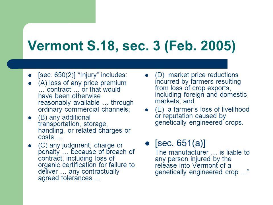 Vermont S.18, sec. 3 (Feb. 2005) [sec.