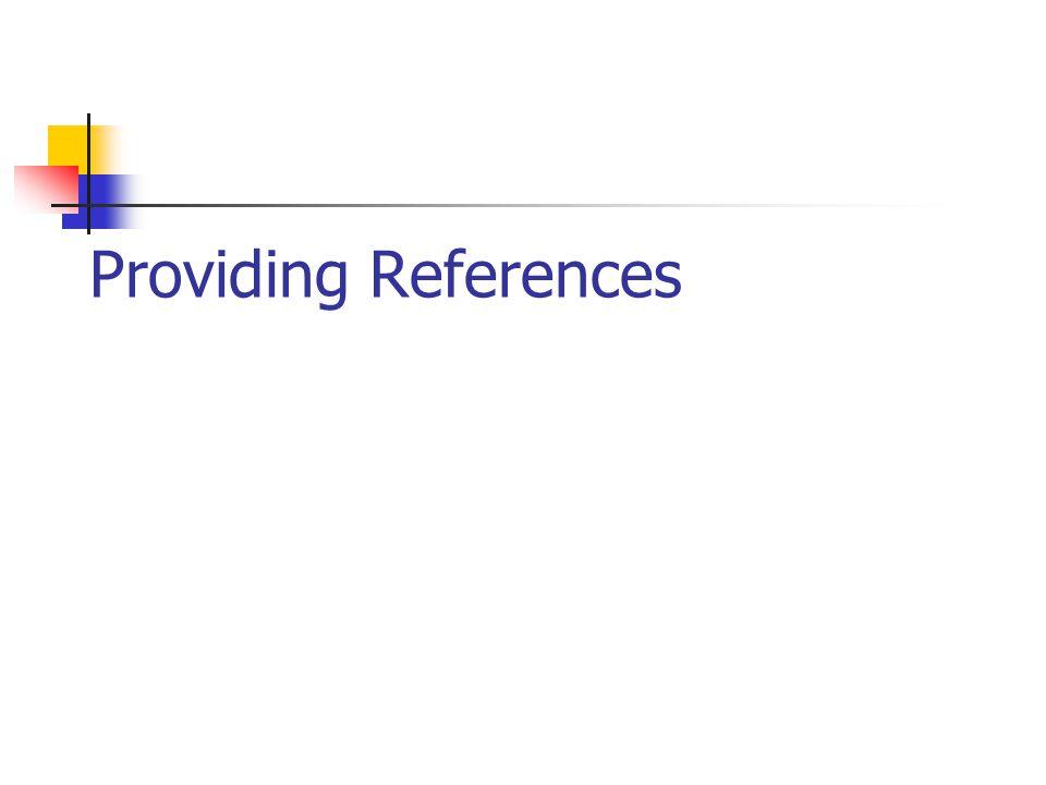 Providing References