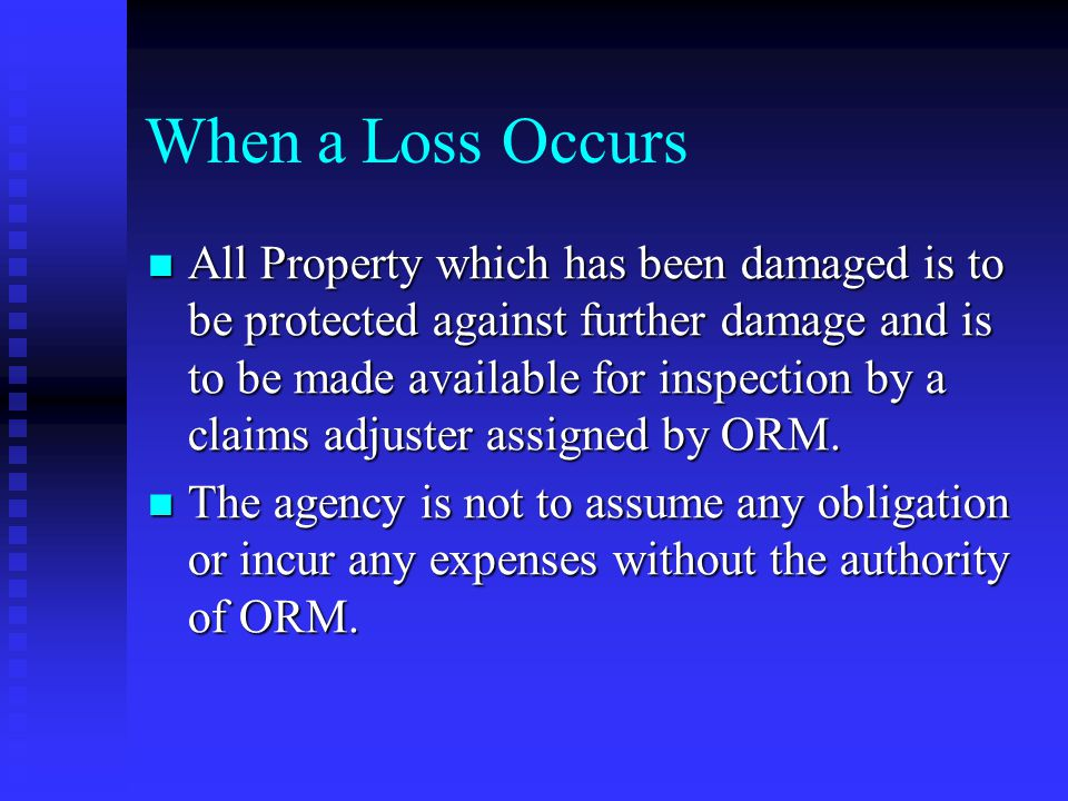 When a Loss Occurs All Property which has been damaged is to be protected against further damage and is to be made available for inspection by a claims adjuster assigned by ORM.