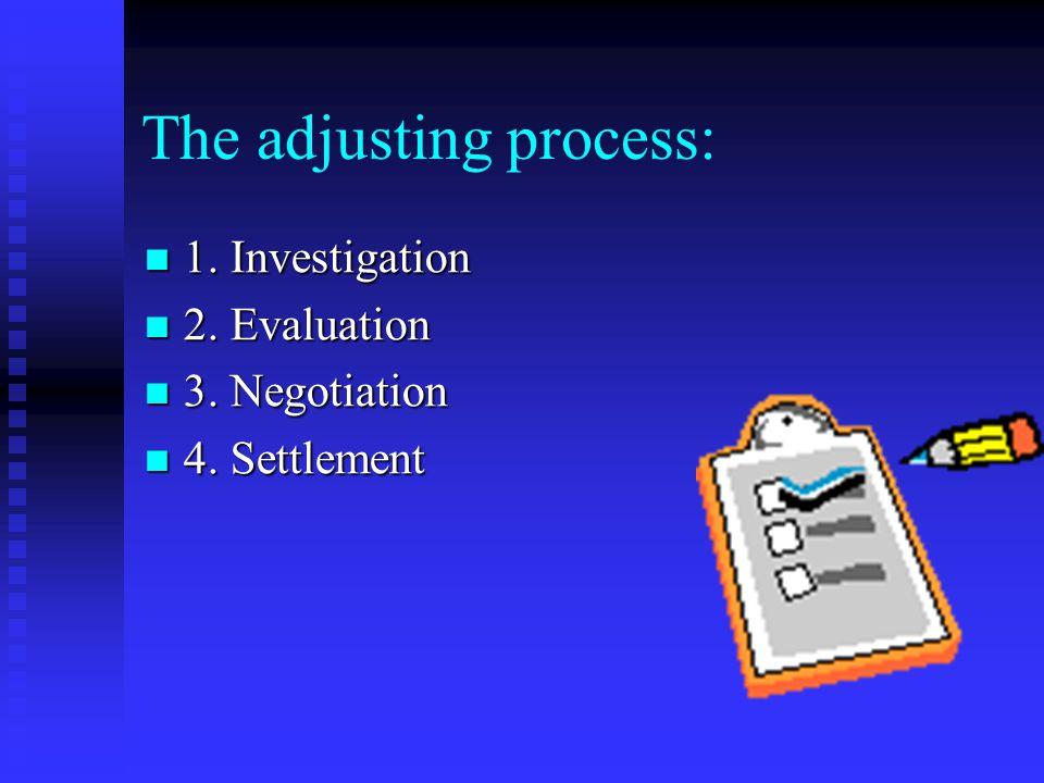 The adjusting process: 1. Investigation 1. Investigation 2.