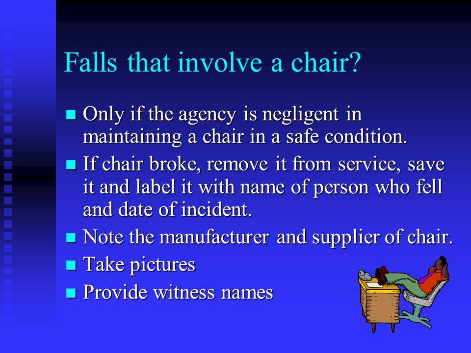 Falls that involve a chair.