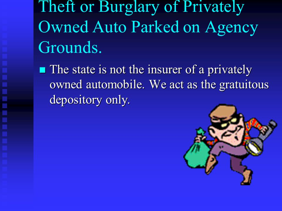 Theft or Burglary of Privately Owned Auto Parked on Agency Grounds.