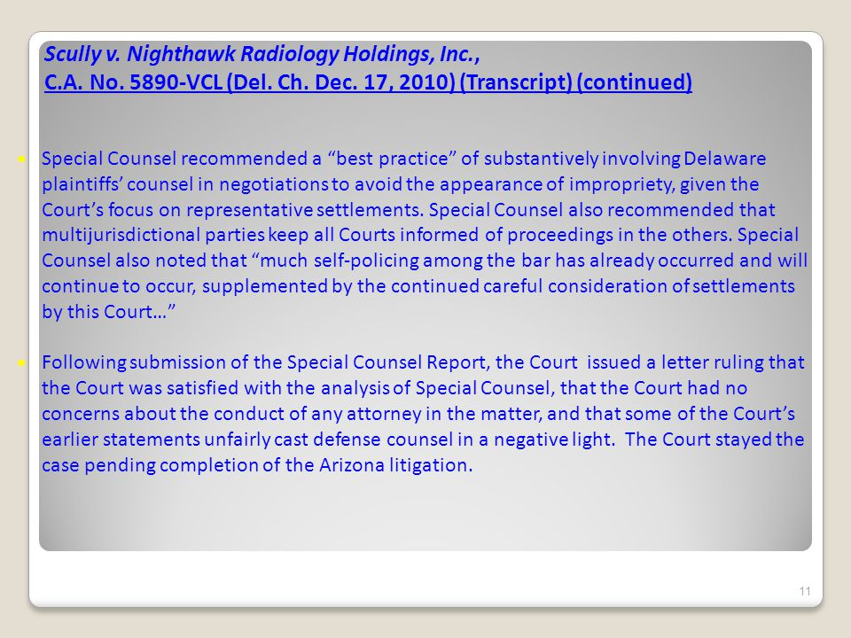 Scully v. Nighthawk Radiology Holdings, Inc., C.A.