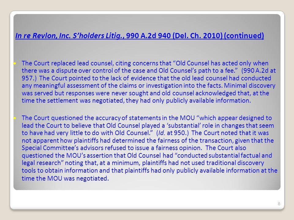 In re Revlon, Inc. S'holders Litig., 990 A.2d 940 (Del.