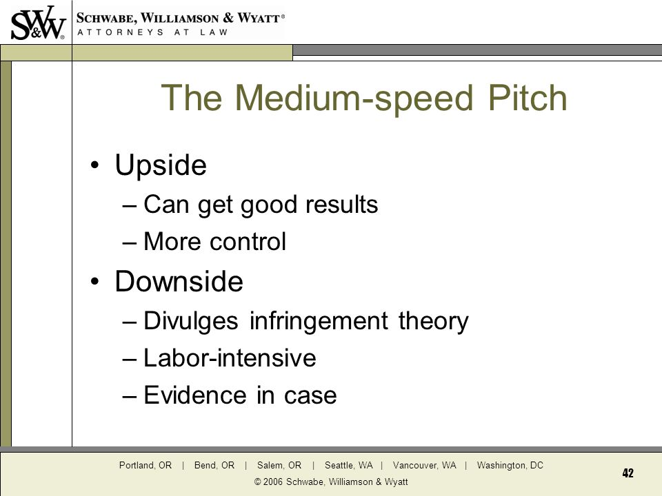 Portland, OR | Bend, OR | Salem, OR | Seattle, WA | Vancouver, WA | Washington, DC © 2006 Schwabe, Williamson & Wyatt 42 The Medium-speed Pitch Upside –Can get good results –More control Downside –Divulges infringement theory –Labor-intensive –Evidence in case
