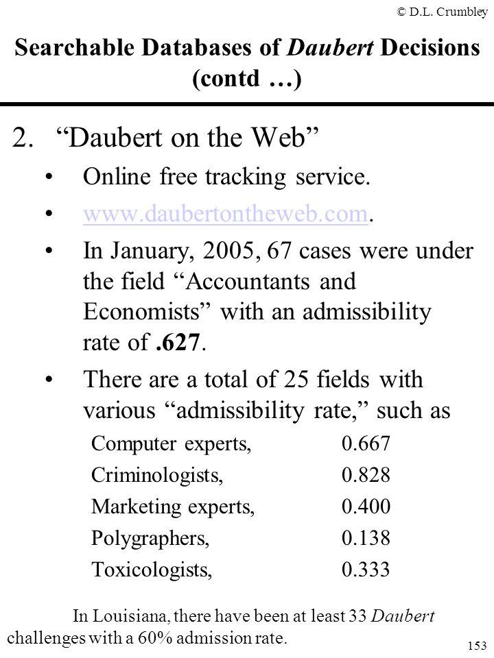 "© D.L. Crumbley 153 Searchable Databases of Daubert Decisions (contd …) 2.""Daubert on the Web"" Online free tracking service. www.daubertontheweb.com.w"