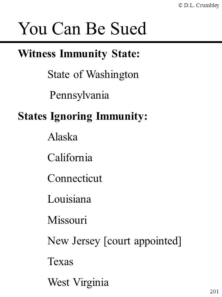 © D.L. Crumbley 201 Witness Immunity State: State of Washington Pennsylvania States Ignoring Immunity: Alaska California Connecticut Louisiana Missour