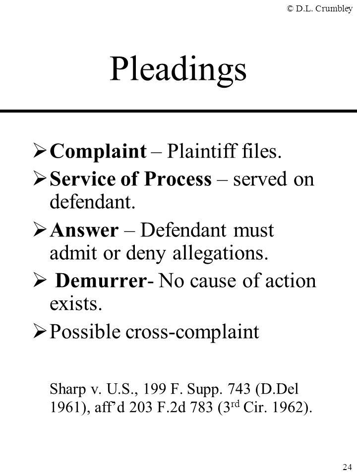 © D.L.Crumbley 24 Pleadings  Complaint – Plaintiff files.