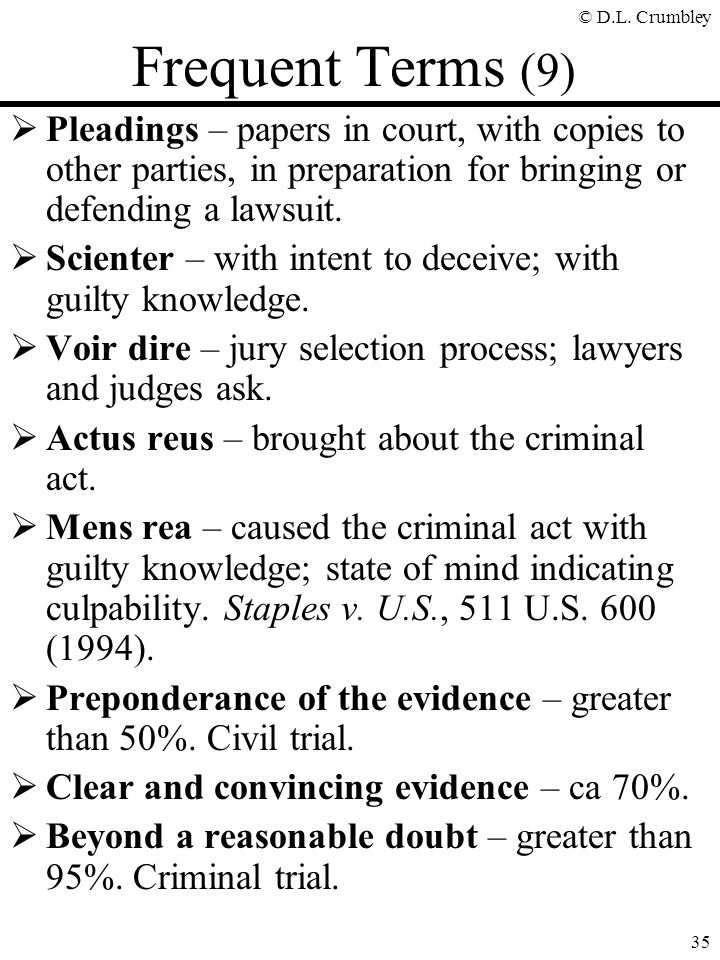 © D.L. Crumbley 35 Frequent Terms (9)  Pleadings – papers in court, with copies to other parties, in preparation for bringing or defending a lawsuit.