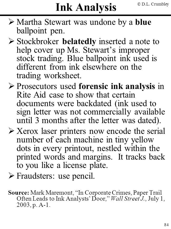 © D.L.Crumbley 84 Ink Analysis  Martha Stewart was undone by a blue ballpoint pen.