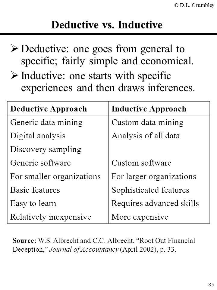 "© D.L. Crumbley 85 Deductive vs. Inductive Source: W.S. Albrecht and C.C. Albrecht, ""Root Out Financial Deception,"" Journal of Accountancy (April 2002"