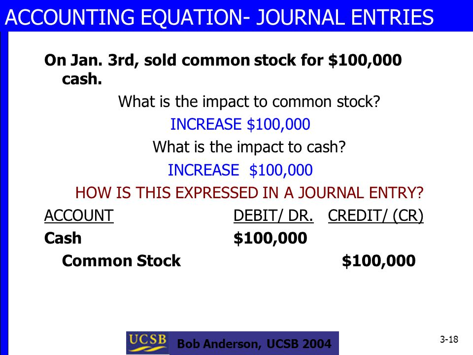 Bob Anderson, UCSB 2004 3-18 ACCOUNTING EQUATION- JOURNAL ENTRIES On Jan.