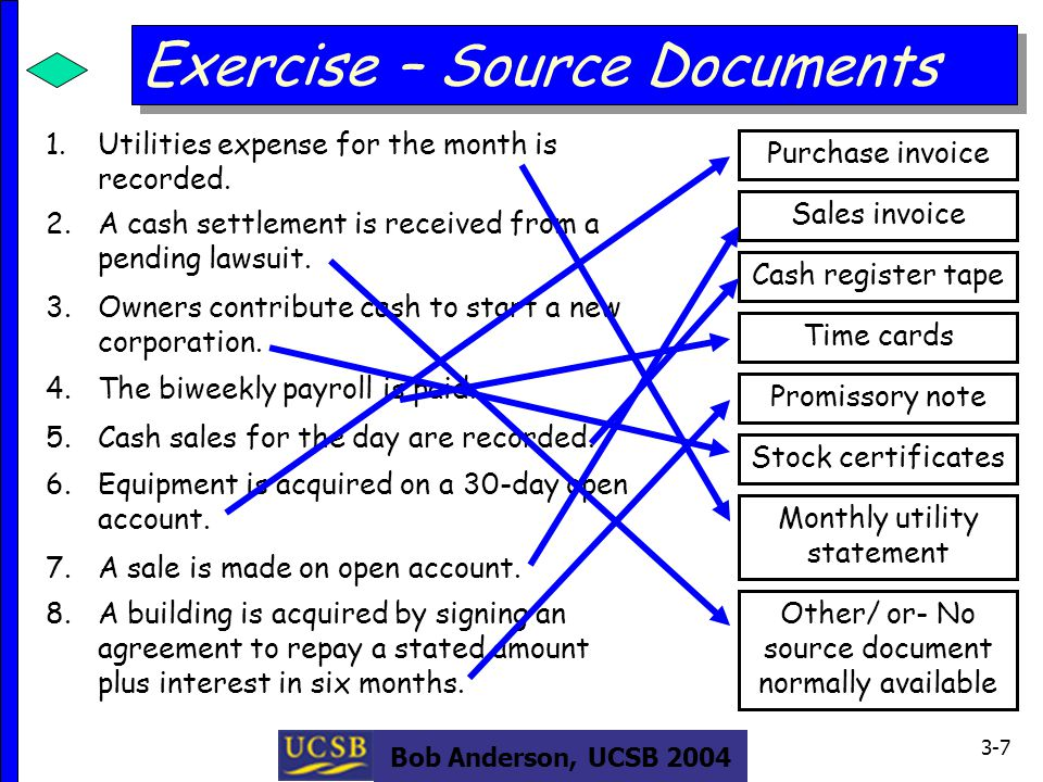 Bob Anderson, UCSB 2004 3-7 Exercise – Source Documents 1.Utilities expense for the month is recorded.