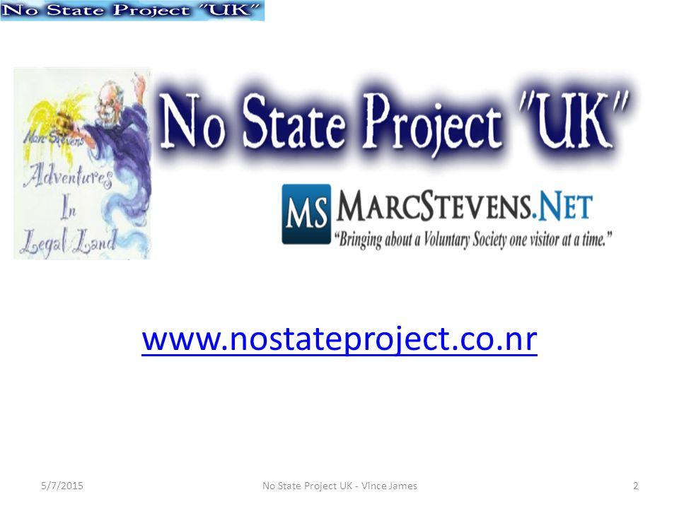 MarcStevensAdventuresinLegalLand Wikispaces.com 5/7/20153No State Project UK - Vince James