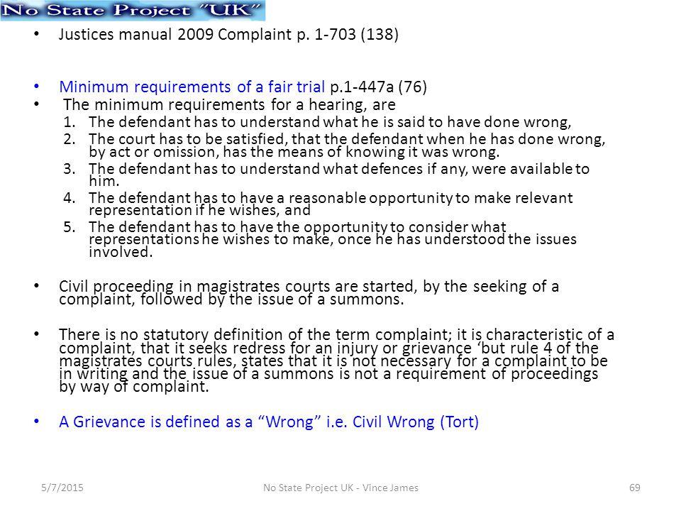 Justices manual 2009 Complaint p.