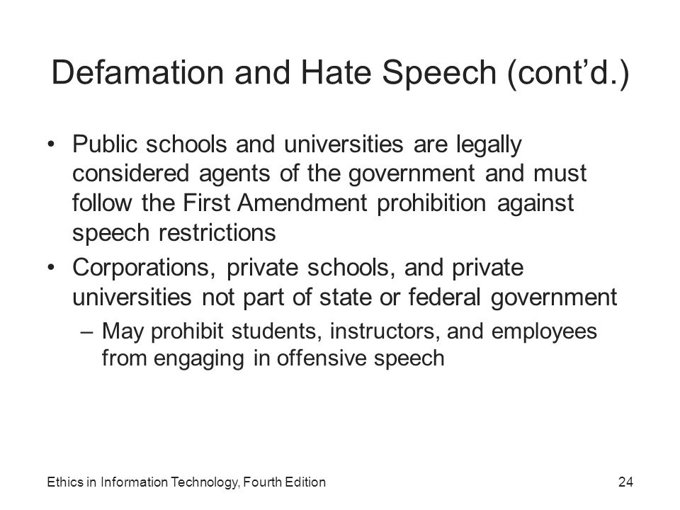 Defamation and Hate Speech (cont'd.) Public schools and universities are legally considered agents of the government and must follow the First Amendme