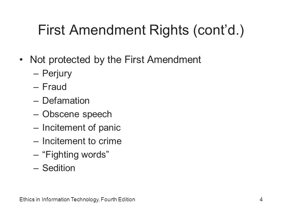 First Amendment Rights (cont'd.) Not protected by the First Amendment –Perjury –Fraud –Defamation –Obscene speech –Incitement of panic –Incitement to
