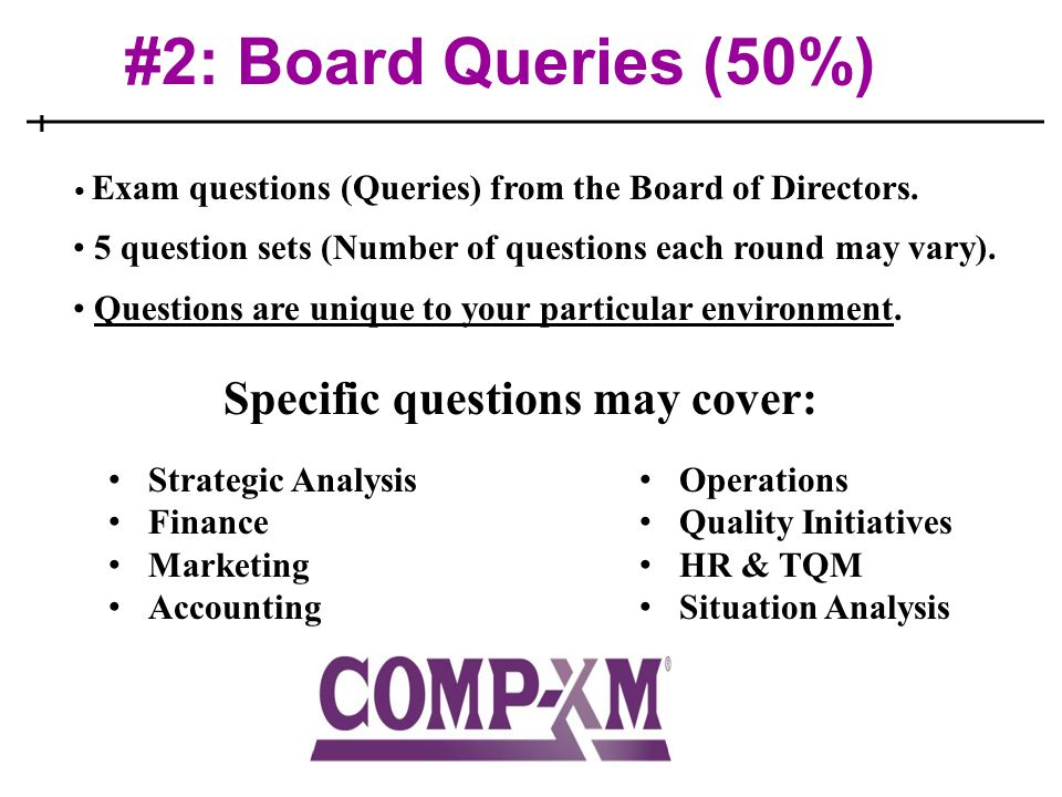 #2: Board Queries (50%) Exam questions (Queries) from the Board of Directors. 5 question sets (Number of questions each round may vary). Questions are