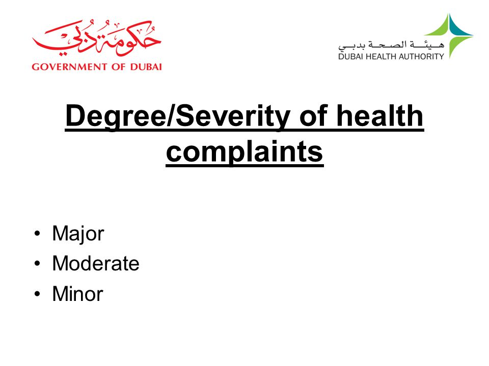 Degree/Severity of health complaints Major Moderate Minor
