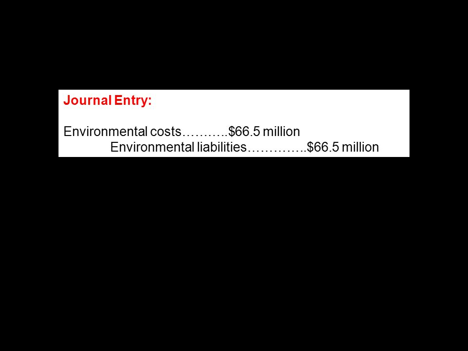 Journal Entry: Environmental costs………..$66.5 million Environmental liabilities…………..$66.5 million