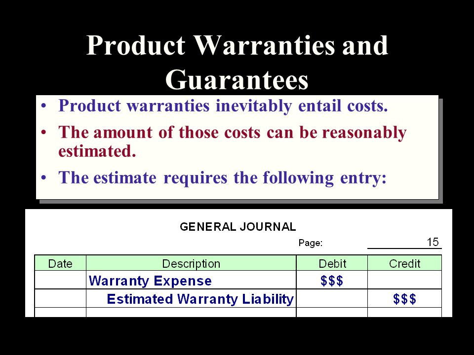 Product Warranties and Guarantees Product warranties inevitably entail costs.