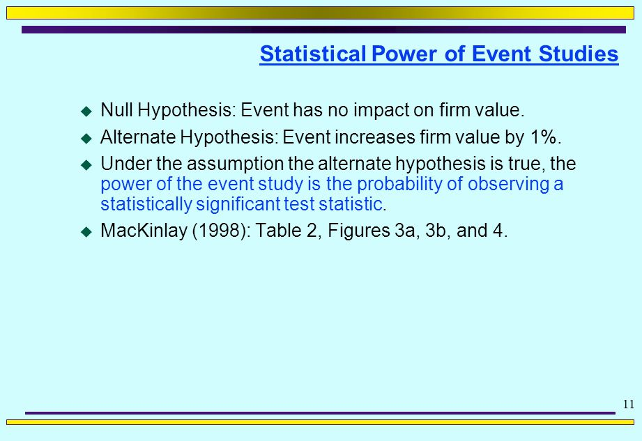 11 Statistical Power of Event Studies  Null Hypothesis: Event has no impact on firm value.