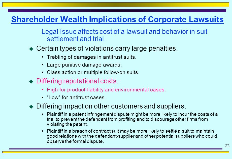 22 Shareholder Wealth Implications of Corporate Lawsuits Legal Issue affects cost of a lawsuit and behavior in suit settlement and trial.