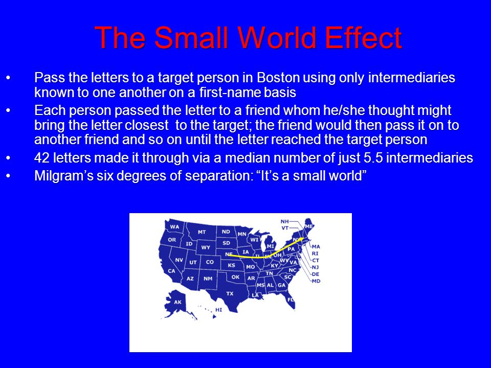 The Small World Effect Pass the letters to a target person in Boston using only intermediaries known to one another on a first-name basisPass the lett