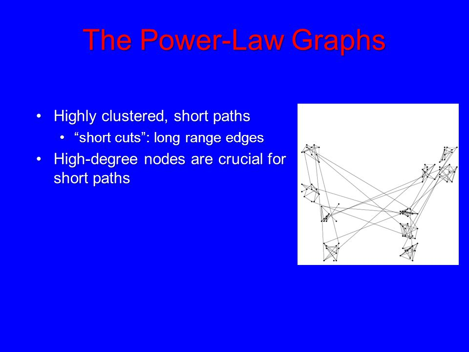 "The Power-Law Graphs Highly clustered, short pathsHighly clustered, short paths ""short cuts"": long range edges""short cuts"": long range edges High-degr"