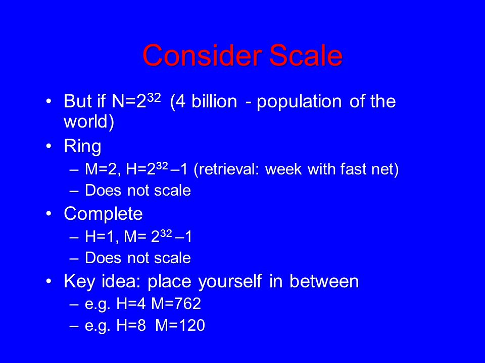 Consider Scale But if N=2 32 (4 billion - population of the world)But if N=2 32 (4 billion - population of the world) RingRing –M=2, H=2 32 –1 (retrie