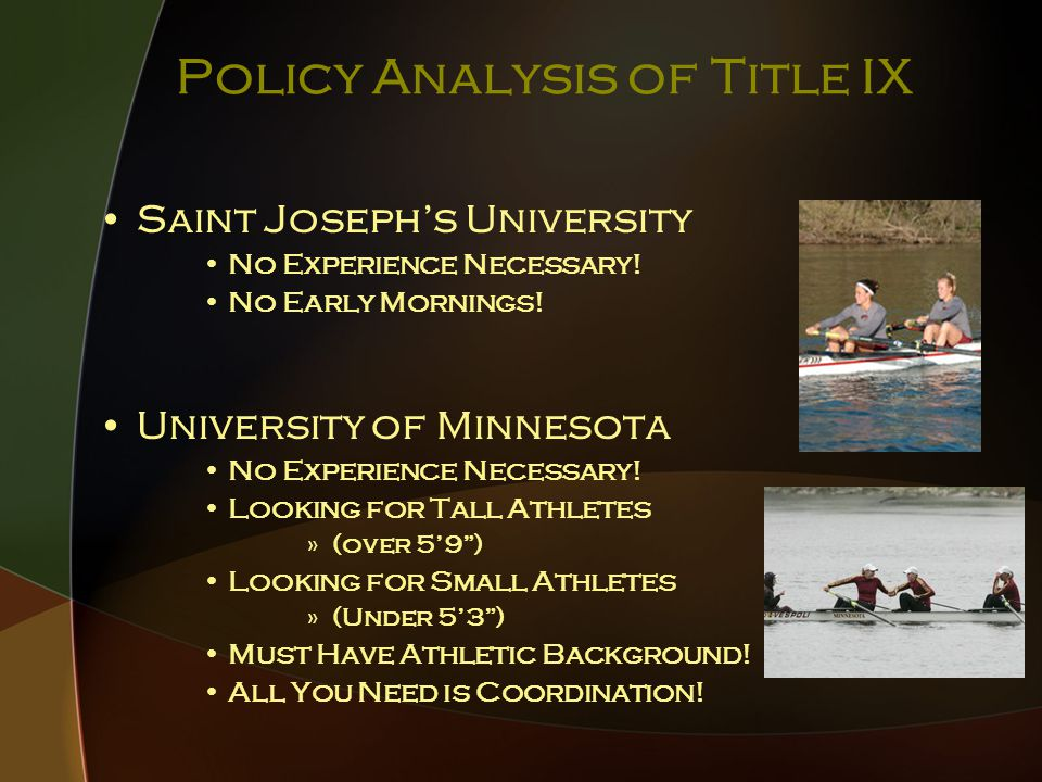 Policy Analysis of Title IX Saint Joseph's University No Experience Necessary.