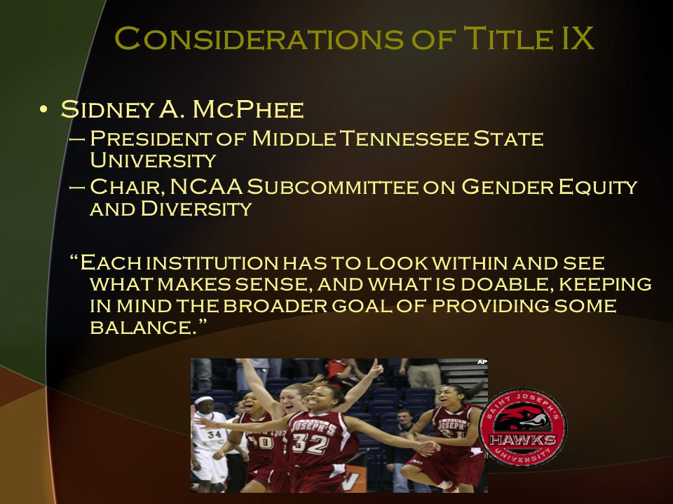 Considerations of Title IX What the public doesn't know is that these new moneys are being used to fuel the arms races being fought in men's football and basketball