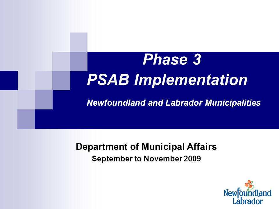 1 Phase 3 PSAB Implementation Newfoundland and Labrador Municipalities Department of Municipal Affairs September to November 2009