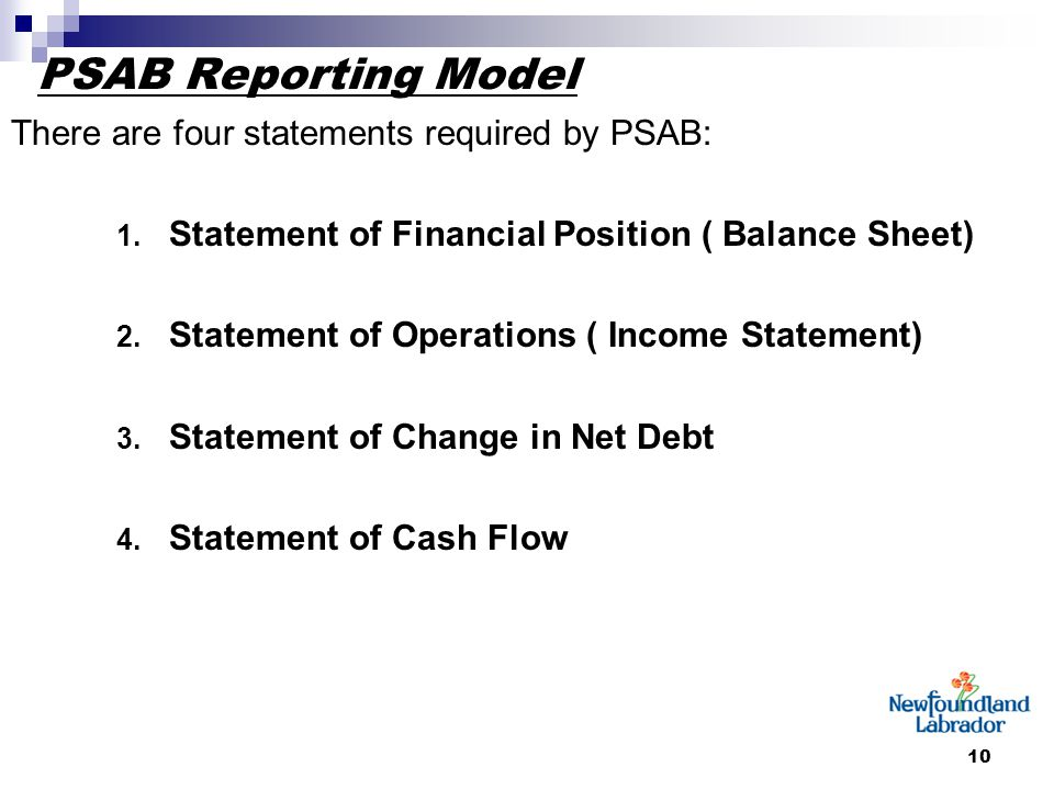10 PSAB Reporting Model There are four statements required by PSAB: 1. Statement of Financial Position ( Balance Sheet) 2. Statement of Operations ( I