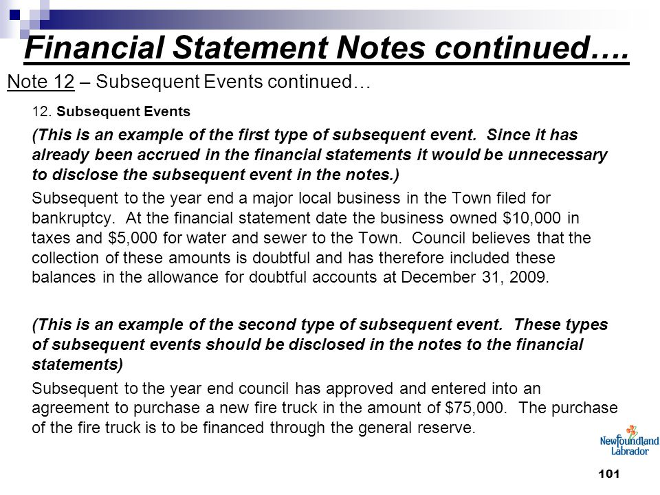 101 Financial Statement Notes continued…. Note 12 – Subsequent Events continued… 12. Subsequent Events (This is an example of the first type of subseq