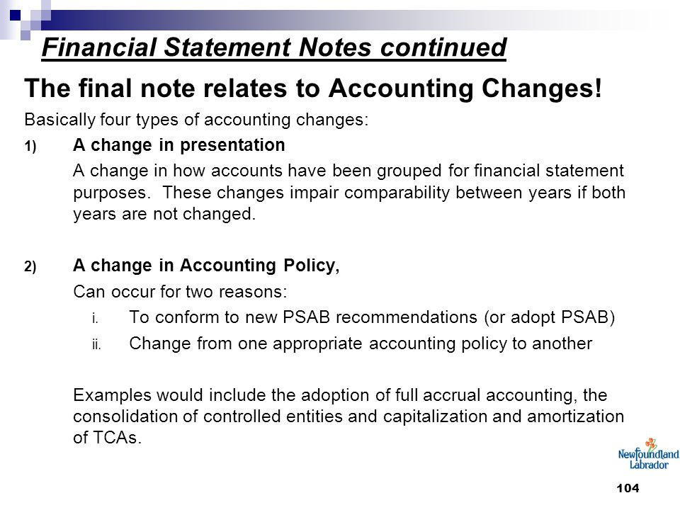 104 Financial Statement Notes continued The final note relates to Accounting Changes.