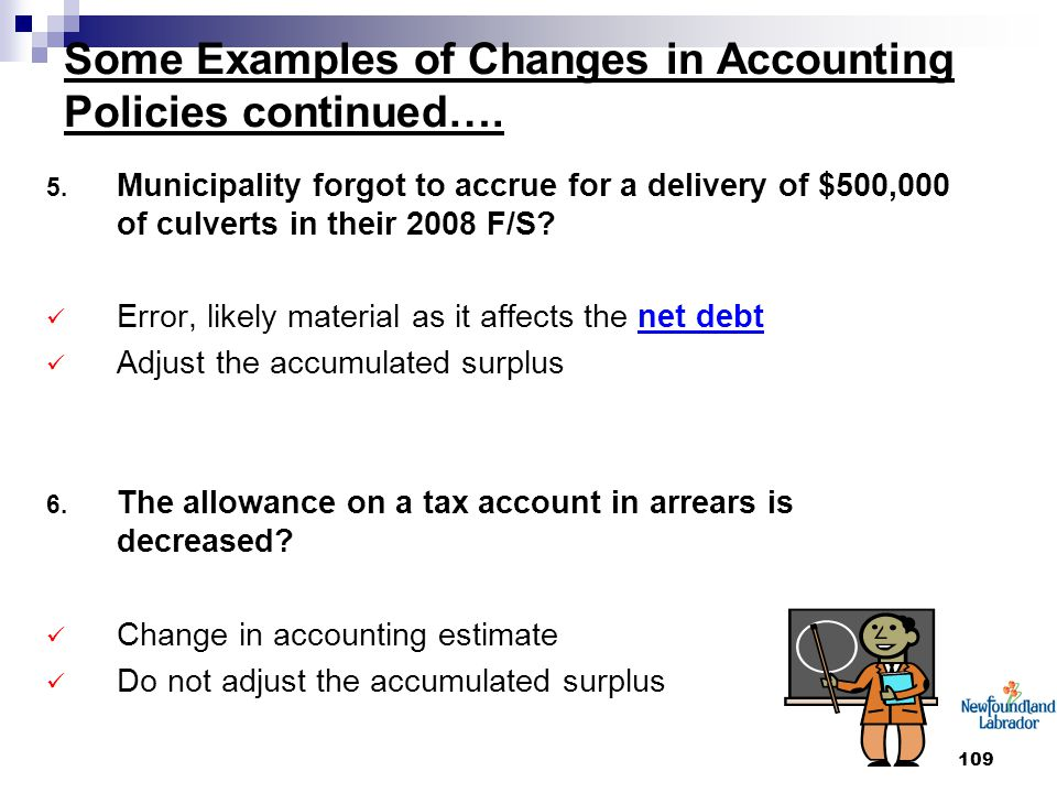 109 Some Examples of Changes in Accounting Policies continued….
