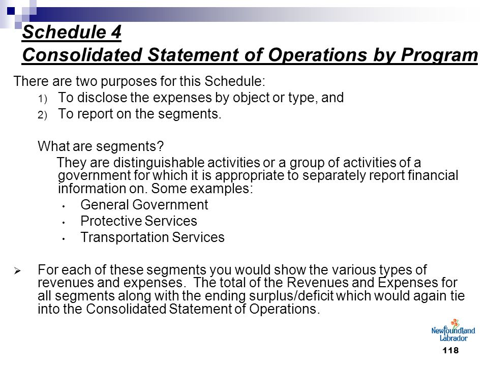118 Schedule 4 Consolidated Statement of Operations by Program There are two purposes for this Schedule: 1) To disclose the expenses by object or type