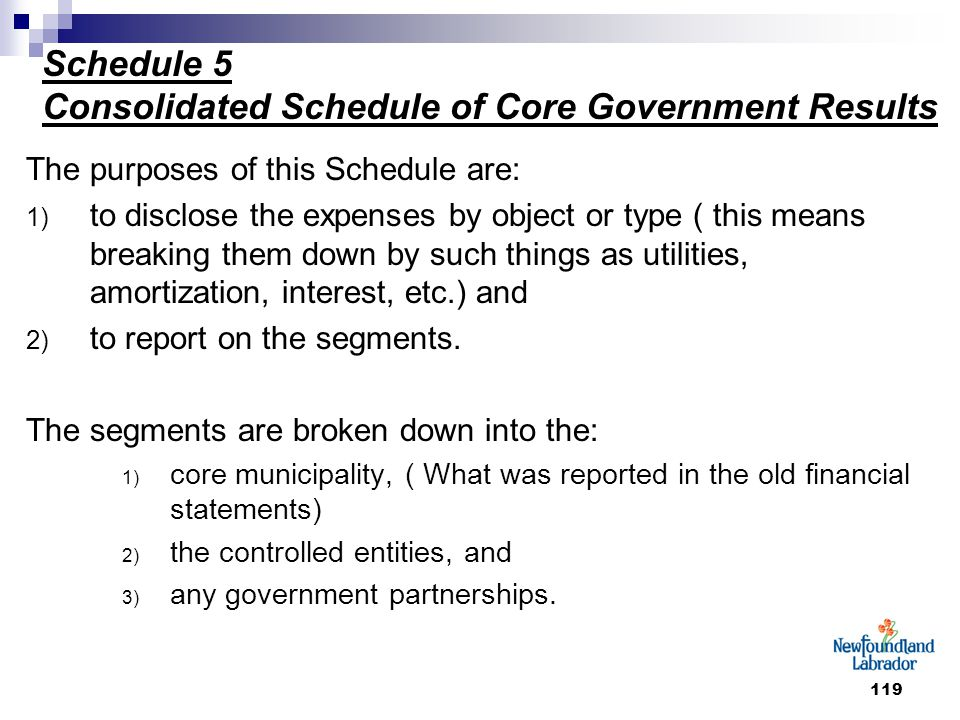 119 Schedule 5 Consolidated Schedule of Core Government Results The purposes of this Schedule are: 1) to disclose the expenses by object or type ( thi