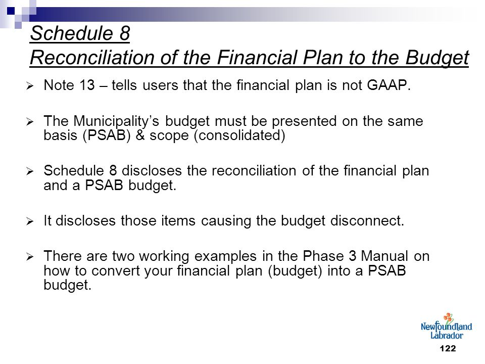 122 Schedule 8 Reconciliation of the Financial Plan to the Budget  Note 13 – tells users that the financial plan is not GAAP.