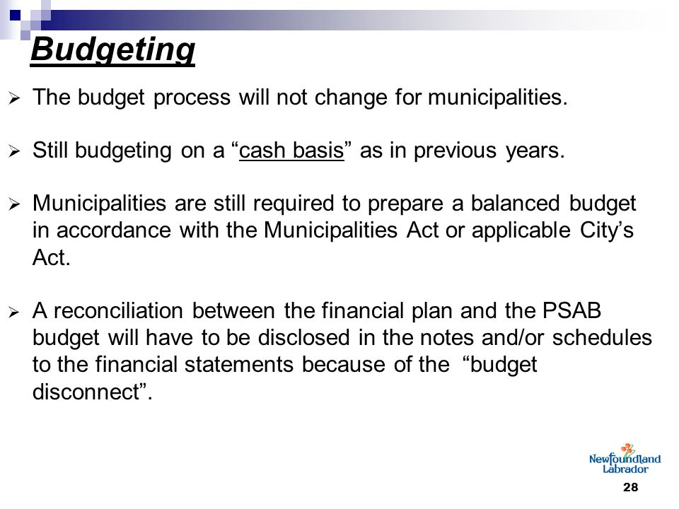 """28 Budgeting  The budget process will not change for municipalities.  Still budgeting on a """"cash basis"""" as in previous years.  Municipalities are s"""
