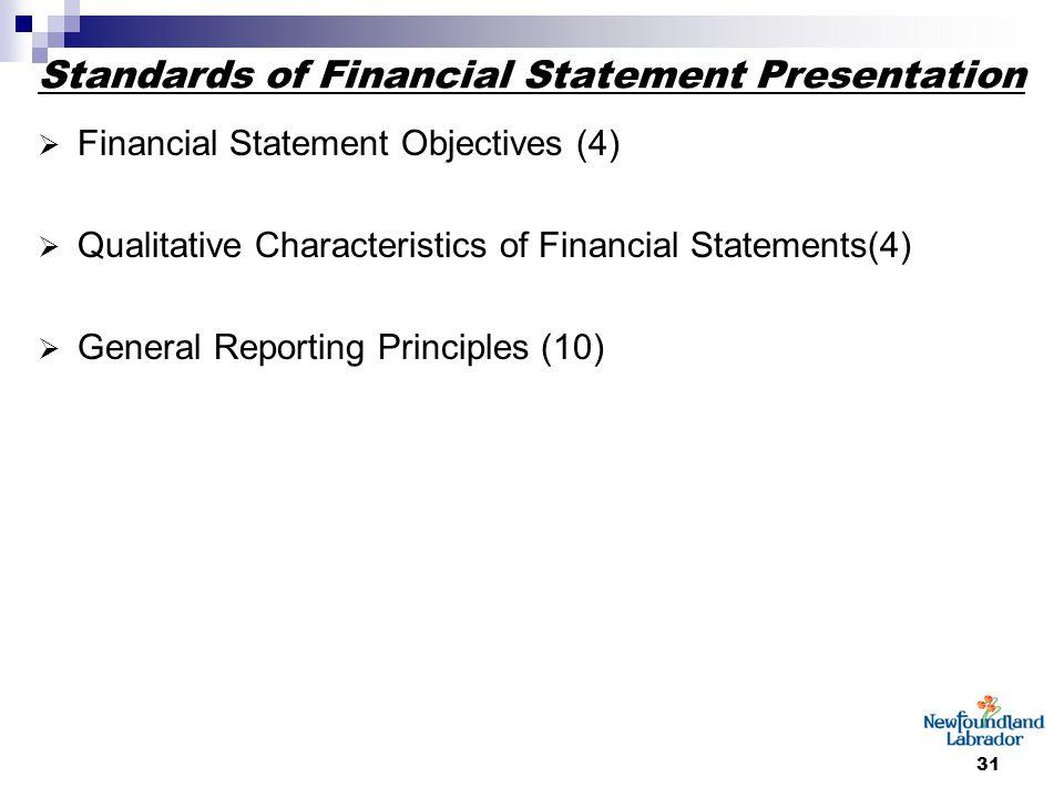 31 Standards of Financial Statement Presentation  Financial Statement Objectives (4)  Qualitative Characteristics of Financial Statements(4)  General Reporting Principles (10)