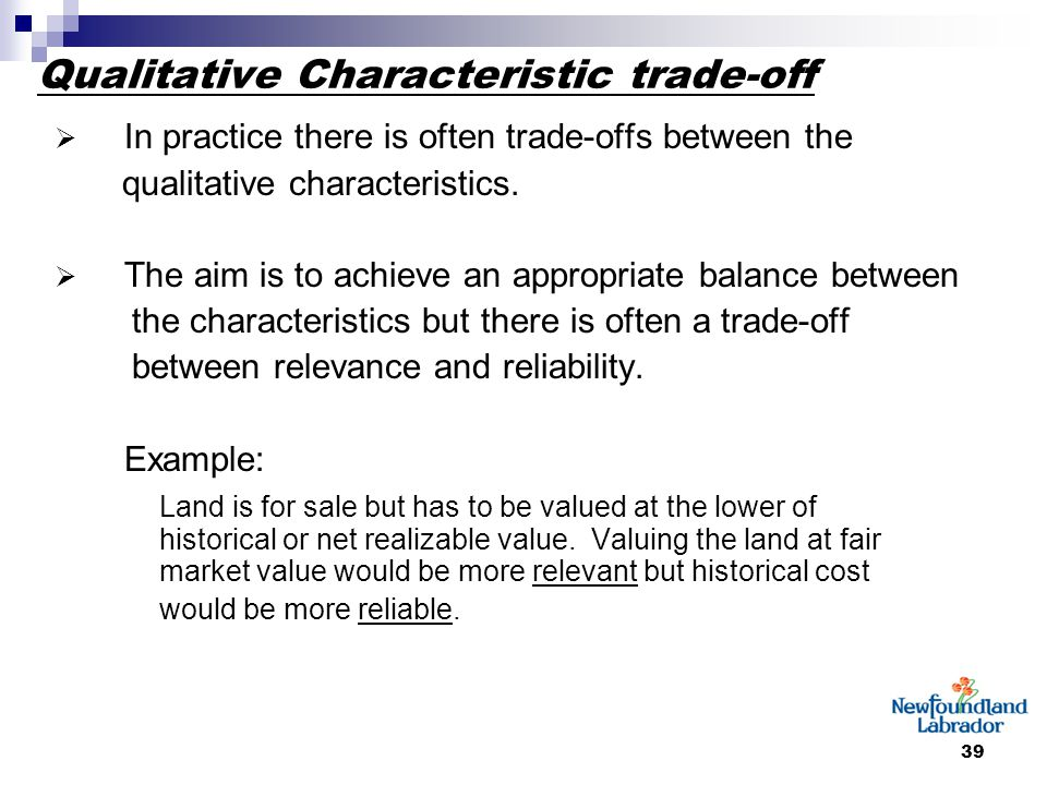 39 Qualitative Characteristic trade-off  In practice there is often trade-offs between the qualitative characteristics.  The aim is to achieve an ap