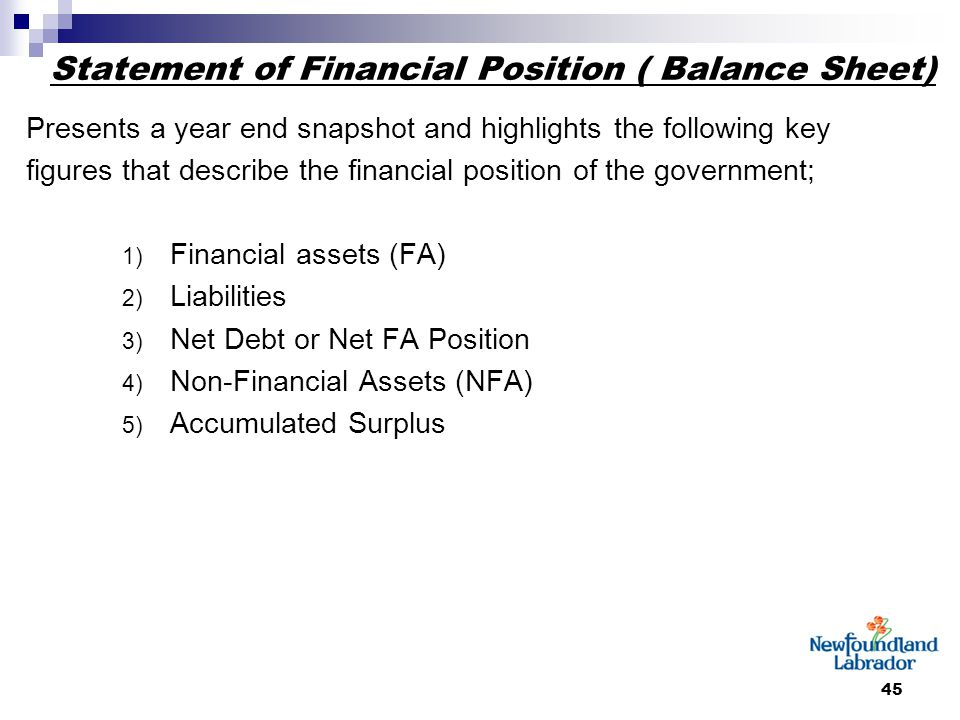45 Statement of Financial Position ( Balance Sheet) Presents a year end snapshot and highlights the following key figures that describe the financial