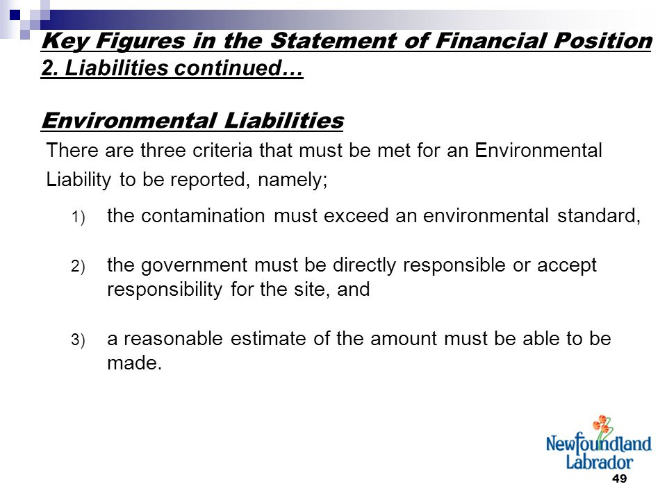 49 Key Figures in the Statement of Financial Position 2.