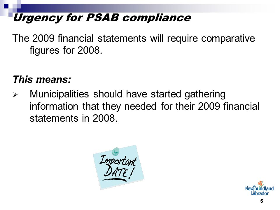 5 Urgency for PSAB compliance The 2009 financial statements will require comparative figures for 2008. This means:  Municipalities should have starte