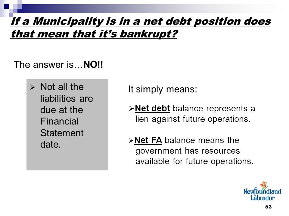53 If a Municipality is in a net debt position does that mean that it's bankrupt? The answer is…NO!!  Not all the liabilities are due at the Financia