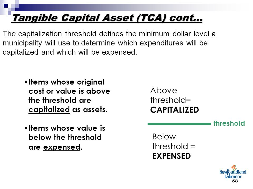 58 Items whose original cost or value is above the threshold are capitalized as assets. Items whose value is below the threshold are expensed. thresho