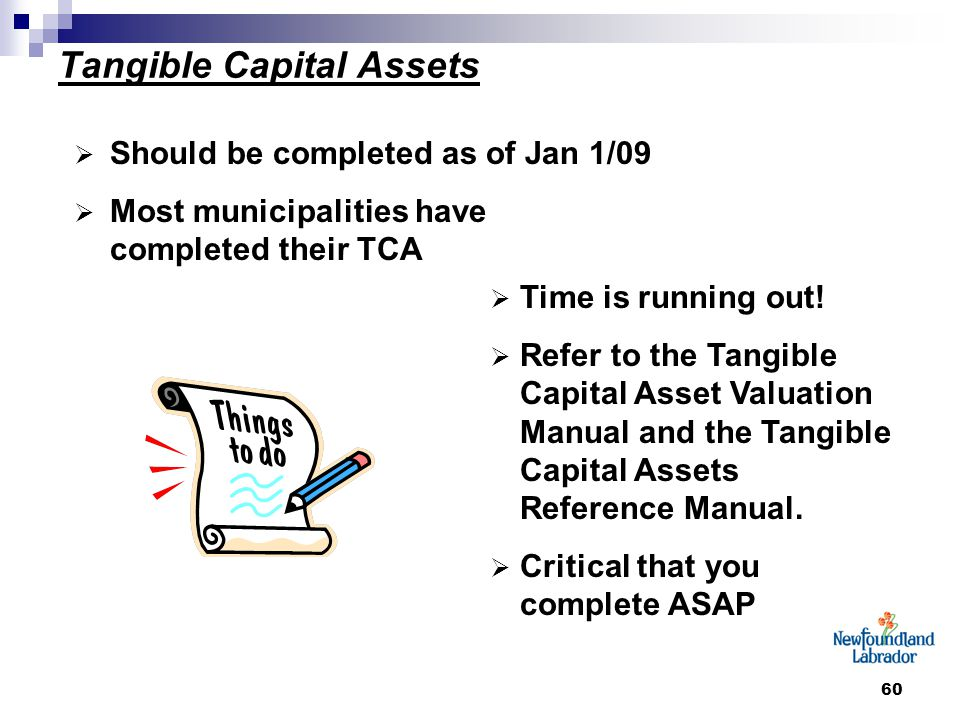 60 Tangible Capital Assets  Should be completed as of Jan 1/09  Most municipalities have completed their TCA  Time is running out.