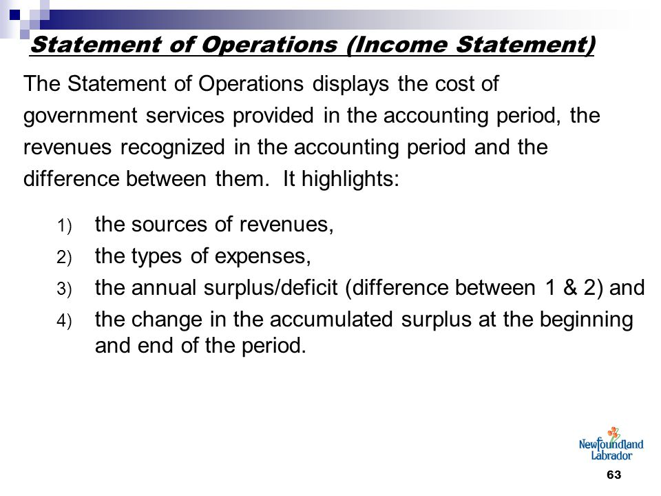 63 Statement of Operations (Income Statement) The Statement of Operations displays the cost of government services provided in the accounting period, the revenues recognized in the accounting period and the difference between them.